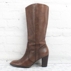 Michael Kors Brown Leather Heel Boots Size 9 M